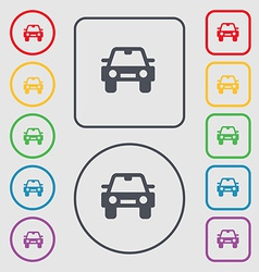 Auto icon sign symbol on the round and square vector