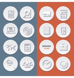 Flat icons of business workflow items and elements vector