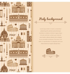 Landmarks of italy background with space for text vector
