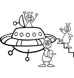 Aliens with ufo for coloring book vector