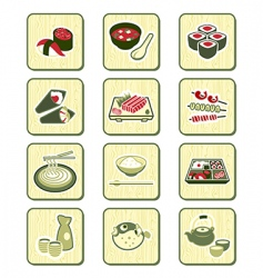 Japanese food icons vector
