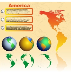 America map on yellow background with world globes vector