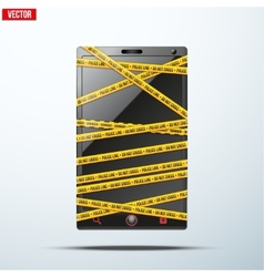 Smartphone mobile phone warning tape wrapped vector