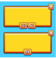 Yellow game interface panels ui buttons vector