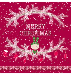 Merry christmas greeting card cute toy bunny vector