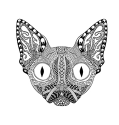 Zentangle stylized face of black cat hand drawn vector