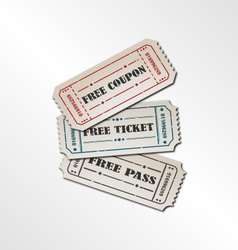 Collection vintage free ticket vector