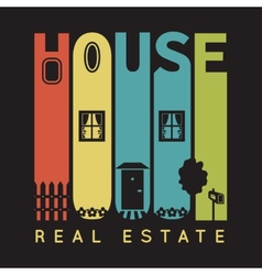 House typography with architecture icons t-shirt vector