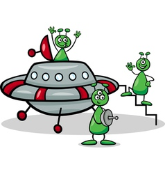 Aliens with ufo cartoon vector