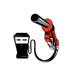 Fuel pump station nozzle retro vector