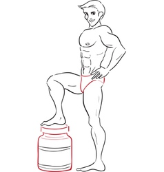Man and protein drinks vector