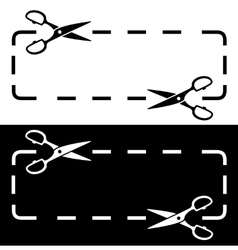 Black and white dotted line scissors vector