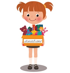Girl holding a box of donations vector