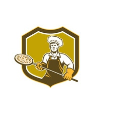 Pizza maker holding peel shield retro vector