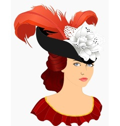 Portrait of young lady in hat vector
