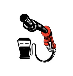 Fuel pump station twisted nozzle retro vector
