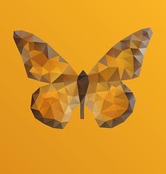 Orange bright butterfly in polygonal technique vector