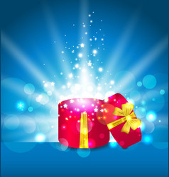 Open round gift box for your holiday - vector