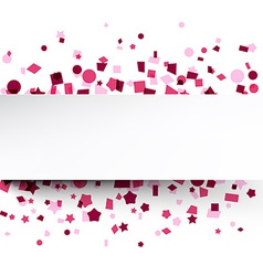 Paper card over pink confetti vector