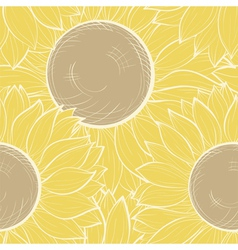 Seamless background with vintage sunflowers vector