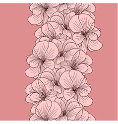 Seamless geranium flowers border vector