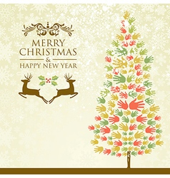 Merry christmas pine tee hands vector