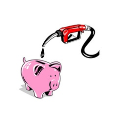 Fuel pump station nozzle and piggy bank retro vector