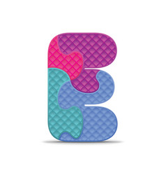 Letter e written with alphabet puzzle vector