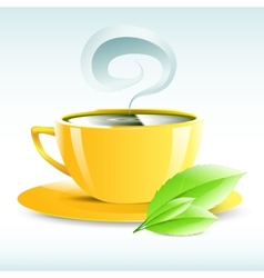 A yellow cup of hot tea grain pairs vector