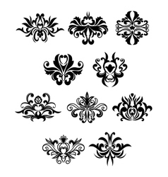 Damask flourish black design elements vector