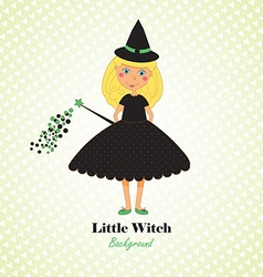 Cute little witch background vector