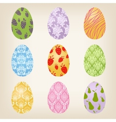 Set of nine easter eggs vector