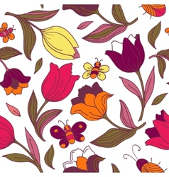 Floral pattern with butterflies and tulips vector