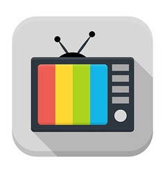 Tv flat app icon with long shadow vector