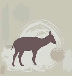 Antelope fawn silhouette on grunge background vector