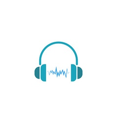 Headphones dj logo sound wave of music icon vector