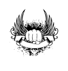 Fist wings and patterns vector