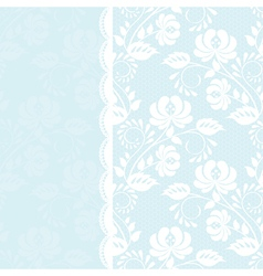 Lace rose border on blue background vector