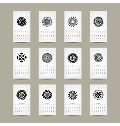 Calendar grid 2015 for your design ethnic ornament vector