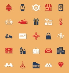 Birthday gift classic color icons with shadow vector