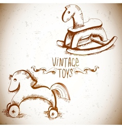 Wooden rocking horses vector