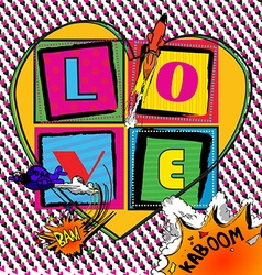 Love pop art card with comic book style vector