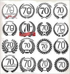 70 years anniversary laurel wreaths vector