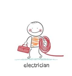 Electrician holding cable and toolbox vector