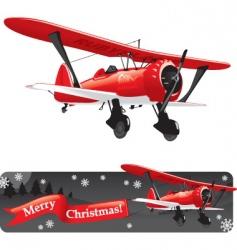 Biplane with christmas vector