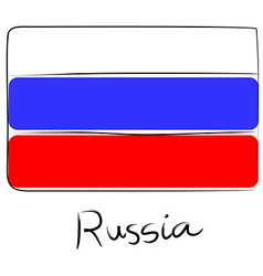Russia flag doodle vector