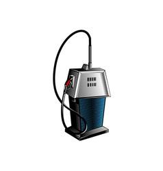 Fuel pump station retro vector