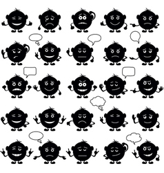 Smilies round set black vector