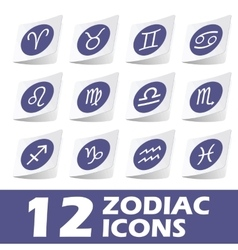 Zodiac icons sticker set vector