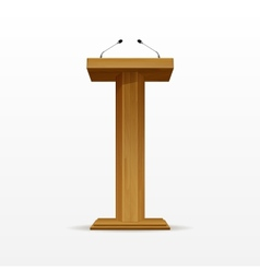 Wood podium tribune rostrum stand with microphones vector